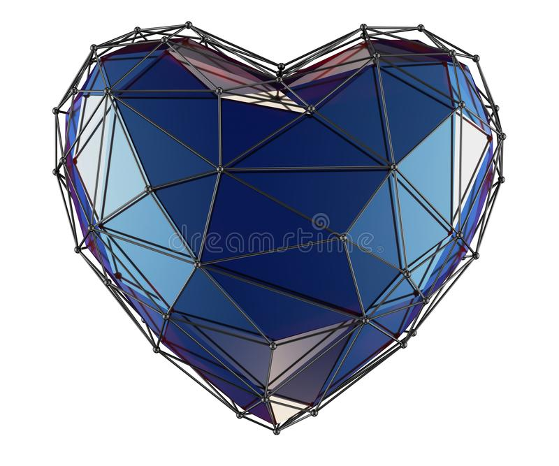 Heart made in low poly style blue color isolated on white background. 3d. Rendering vector illustration
