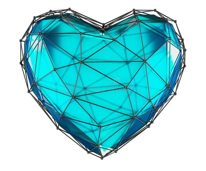 Heart made in low poly style blue color isolated on white background. 3d stock photo