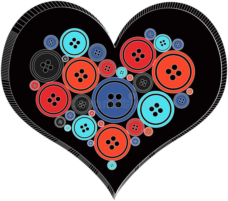 Heart made out of Buttons. Retro royalty free illustration