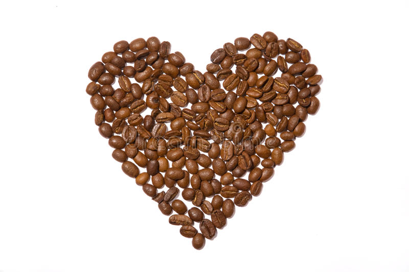 Heart made out of coffee beans royalty free stock image