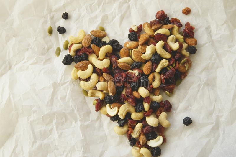 Trail Mix Heart royalty free stock photo