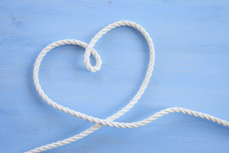 Heart made from rope royalty free stock photography