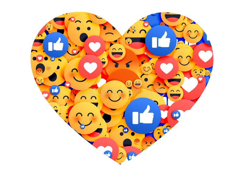 Heart made with social media emoji icons. Illustration stock illustration