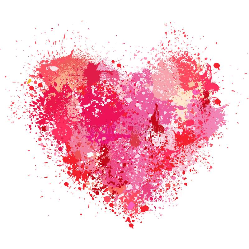 Heart made of spray and drops grunge background stock illustration
