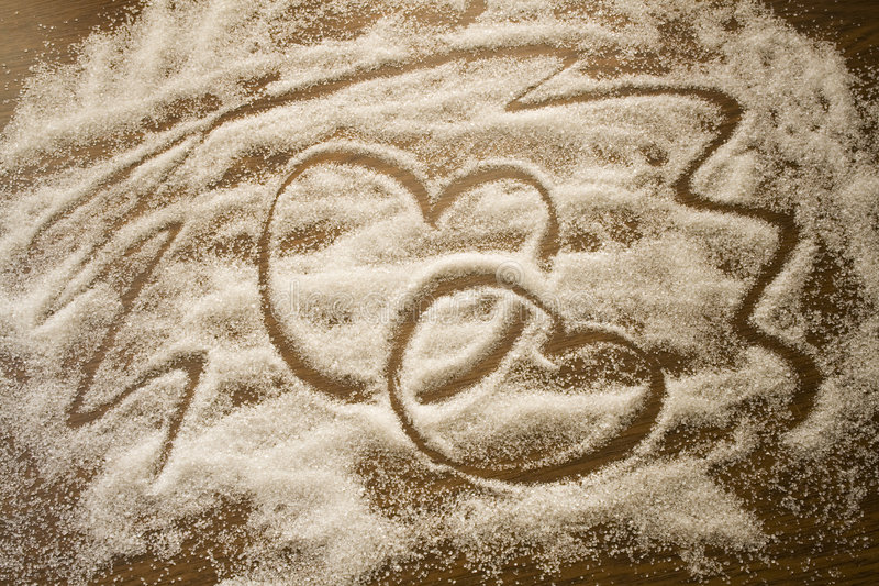 Heart made from sugar royalty free stock photos