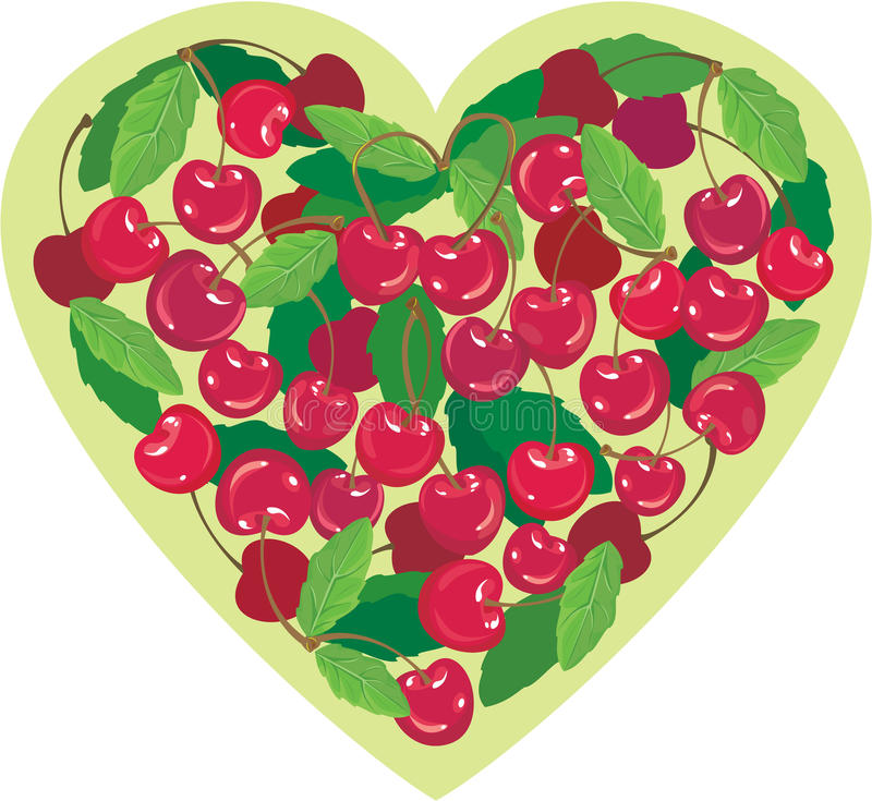 Download Heart Is Made By Sweet Cherries Stock Vector - Illustration: 22376674