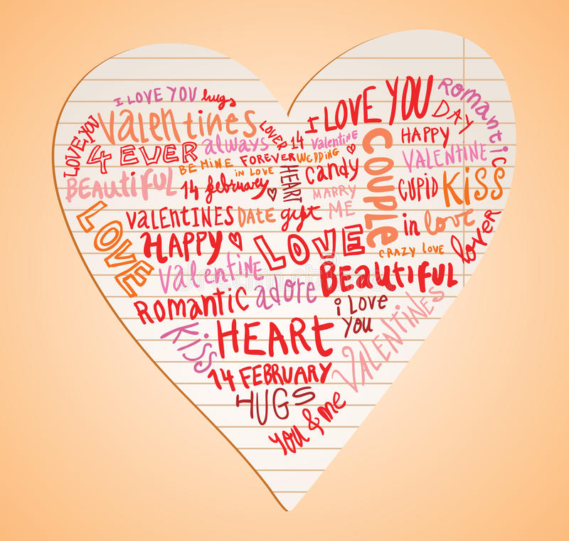 Heart made of words Love, vector illustration. stock illustration