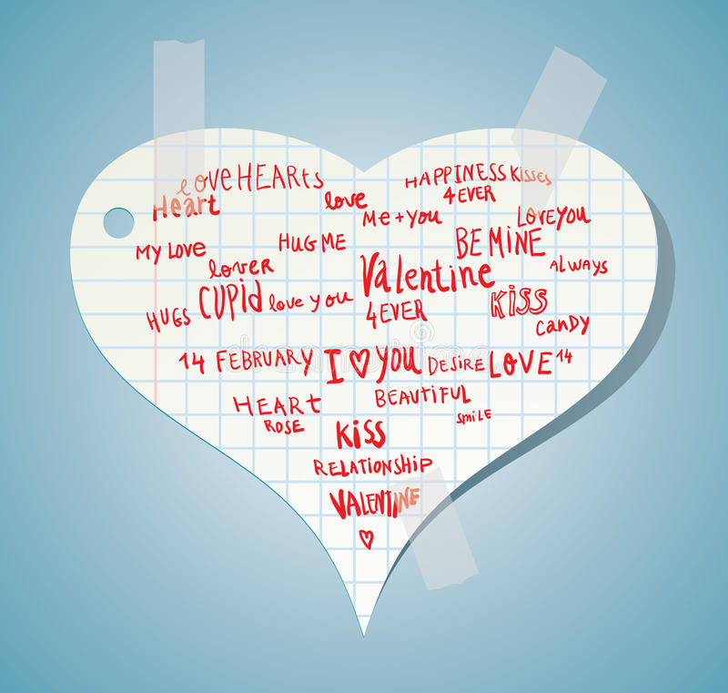 Heart made of words Love, vector illustration. vector illustration