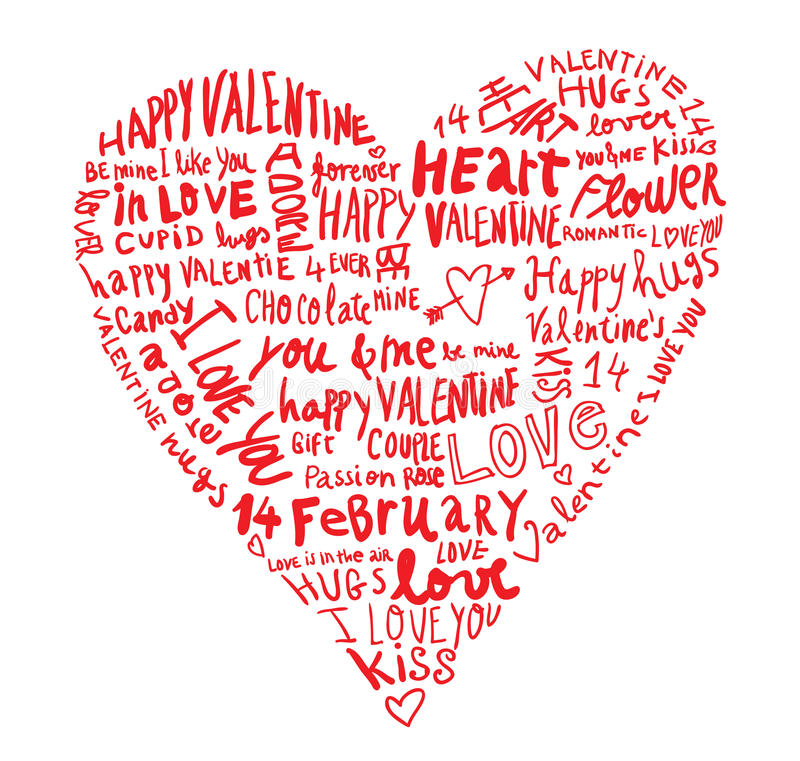 Heart made of words Love, vector illustration. royalty free illustration