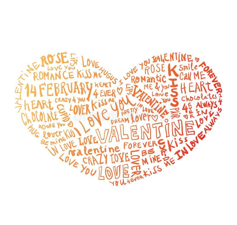 Heart made of words Love, vector illustration.  royalty free illustration