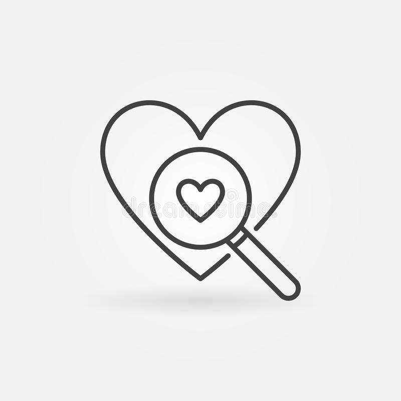 Heart with Magnifier line icon. Vector Searching A Love sign stock illustration
