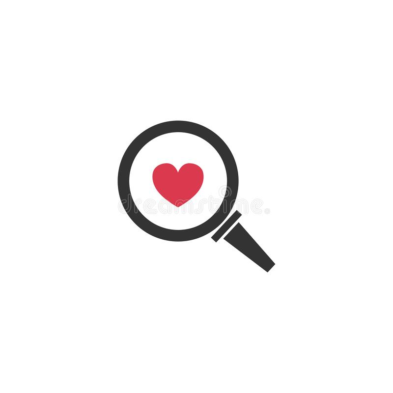 heart in a magnifying glass. search love. vector symbol stock illustration