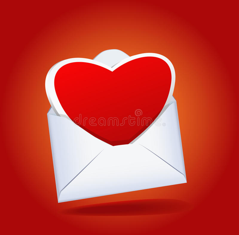 Heart and a mailing envelope. Heart and a mailing envelope on the red background are shown in the image royalty free illustration