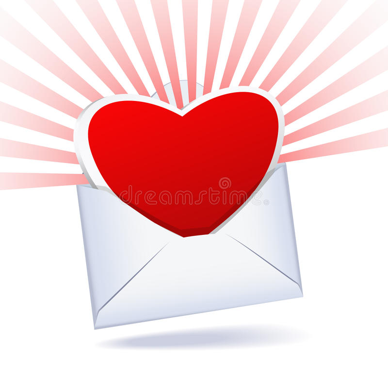 Heart and mailing envelope. Heart-rays and a mailing envelope on a white background are shown in the image stock illustration