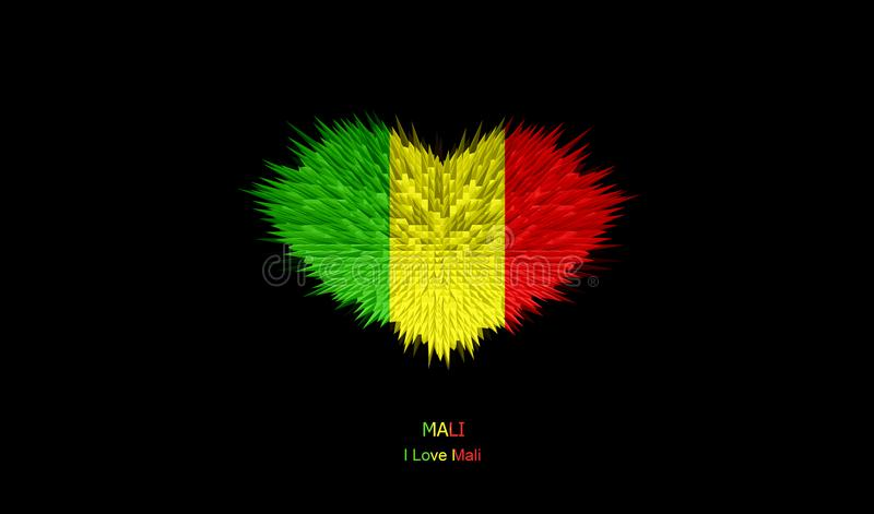 The Heart of Mali Flag. stock images