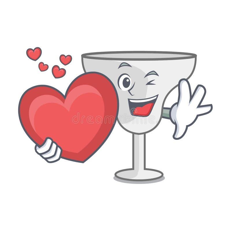 With heart margarita glass mascot cartoon. Vector illustration stock illustration