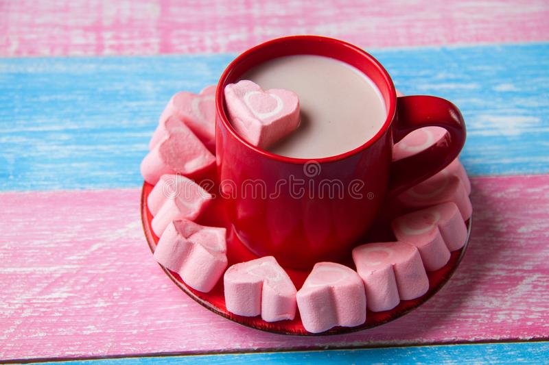 Heart marshmallow and chocolate stock images
