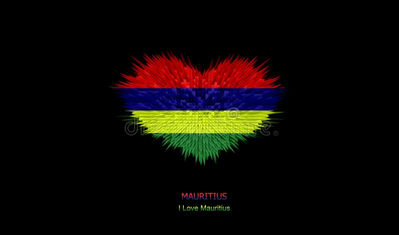 The Heart of Mauritius Flag. stock photos