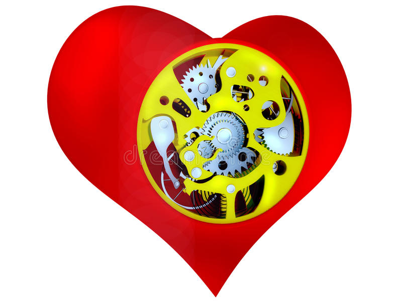 Heart With The Mechanism Inside Stock Photography