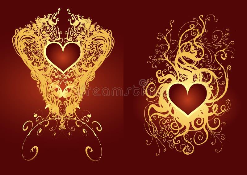 Heart medal. Golden medal valentine card design element royalty free illustration
