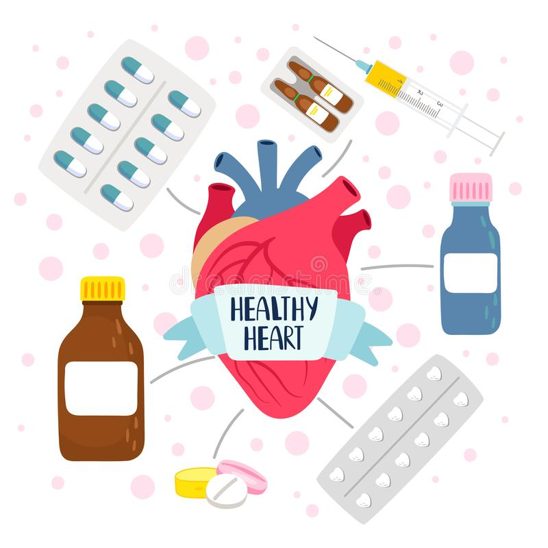 Heart medicine health royalty free illustration