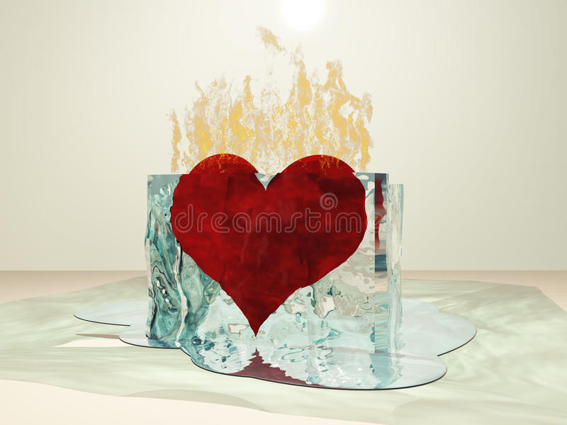 Heart Melt. Heart on fire melting ice vector illustration