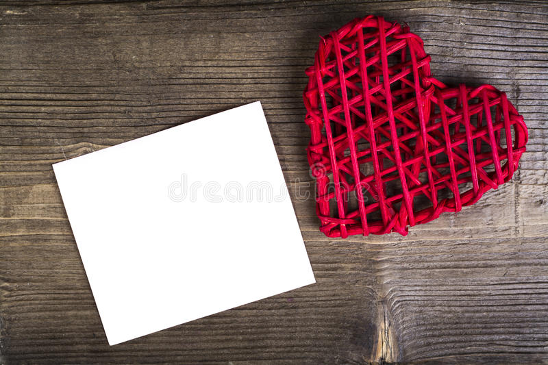 Heart with memo on wood Background. Wedding Love Concept royalty free stock photography