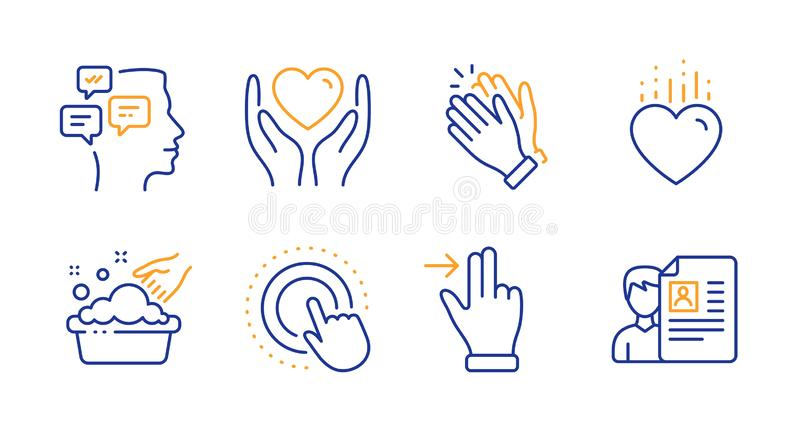 Heart, Messages and Touchscreen gesture icons set. Hold heart, Hand washing and Clapping hands signs. Vector vector illustration