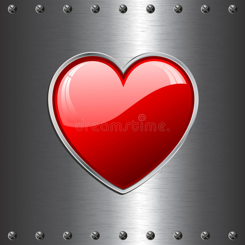 Heart on metal background vector illustration