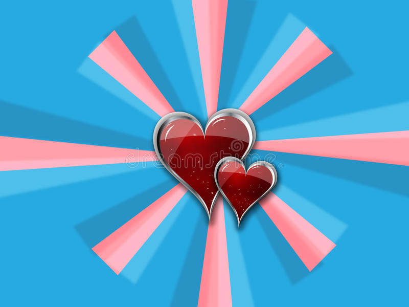 Heart with Metal Borders on blue_pink pinwheel stock illustration