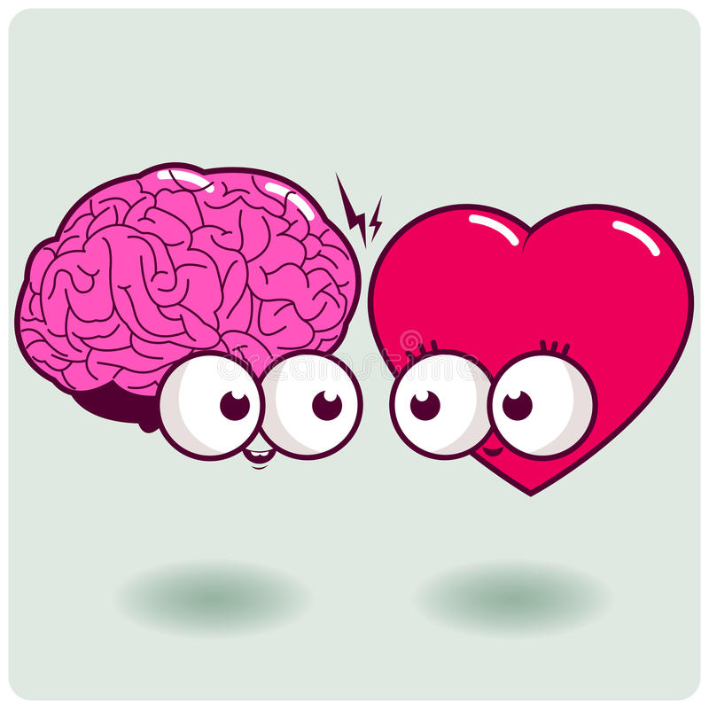 Heart and mind. Vector Illustration of a brain and a heart cartoon character stock illustration