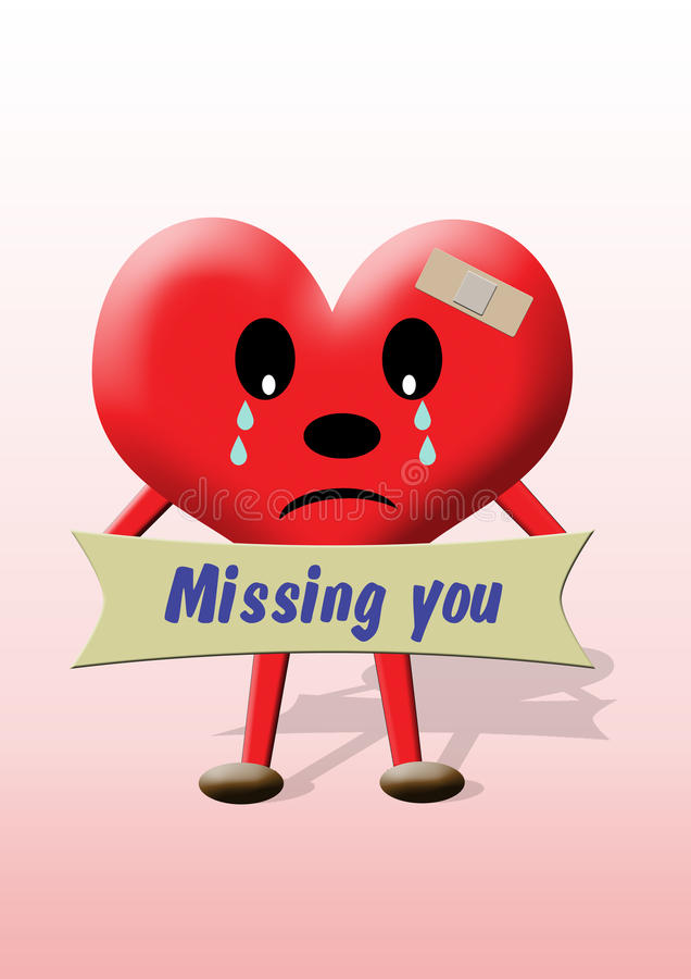 Heart: missing you. A heart illustration with a banner 'Missing you vector illustration