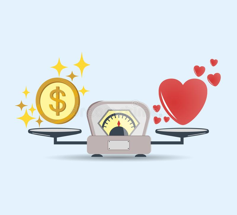 Heart and money for scales icon. Balance of money and love in scale. Concept of choice. Scales with love and money coins. Vector. royalty free illustration