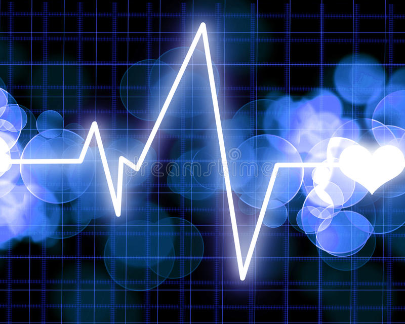 Heart monitor. On a dark blue background royalty free illustration
