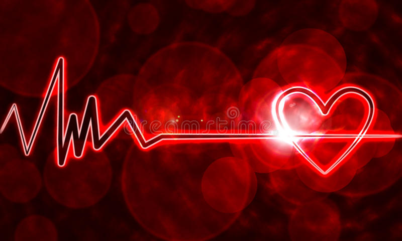 Heart monitor. Abstract heart monitor on a dark red background vector illustration