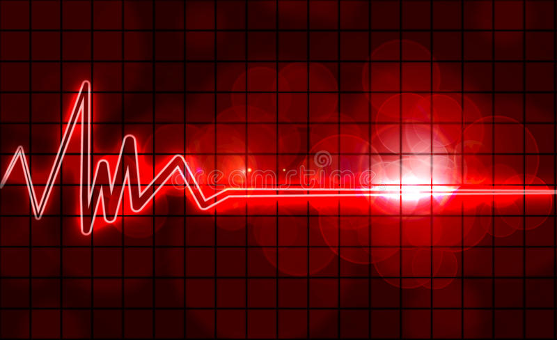 Heart monitor. Abstract heart monitor on a dark red background stock illustration