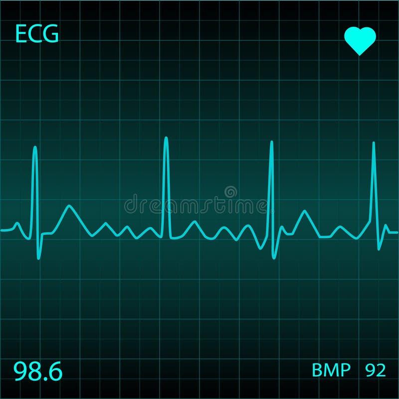 Heart Monitor. Blue Heart Monitor Display Screen royalty free illustration