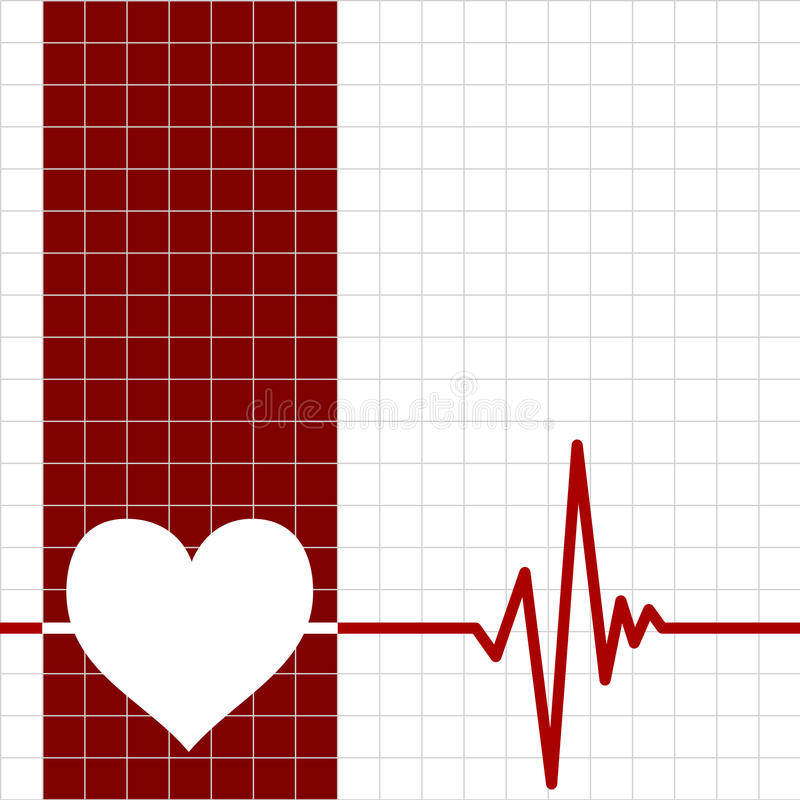 Heart monitor. With heart and ecg chart stock illustration