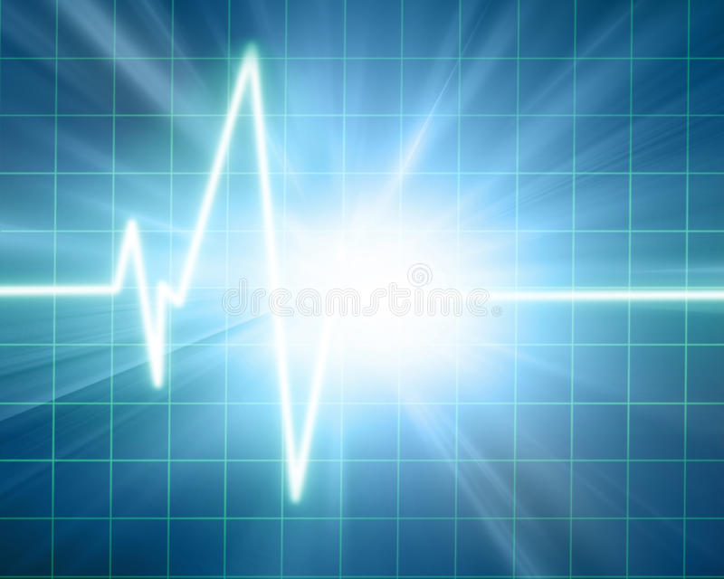 Heart monitor. Heart beat on monitor on a blue background vector illustration