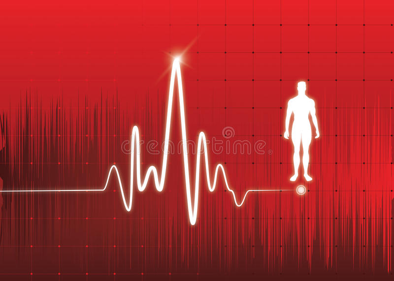 Heart monitor. Abstract background ,whit healthy man icon, great for print and presentation stock illustration