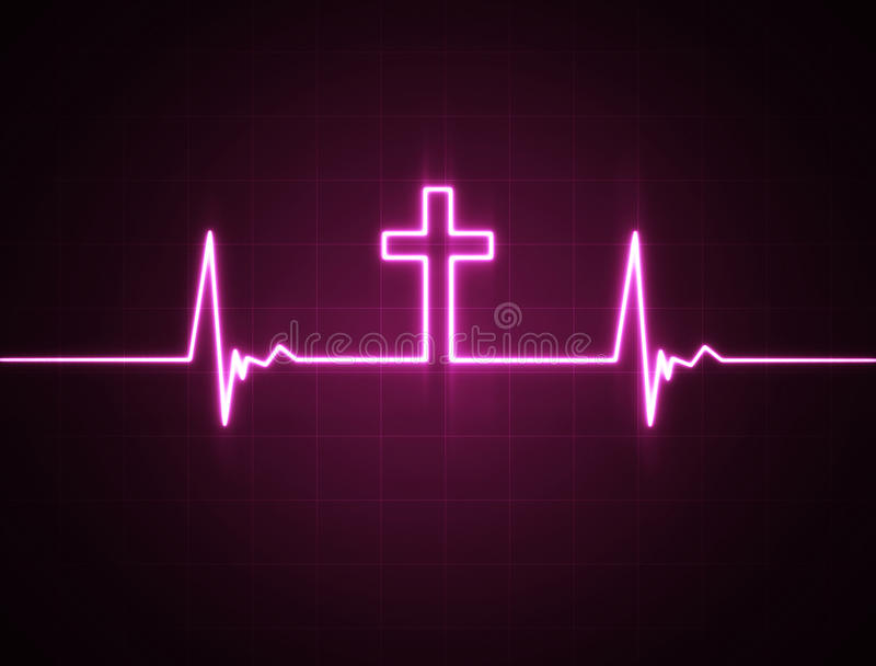 Heart monitor with cross vector illustration