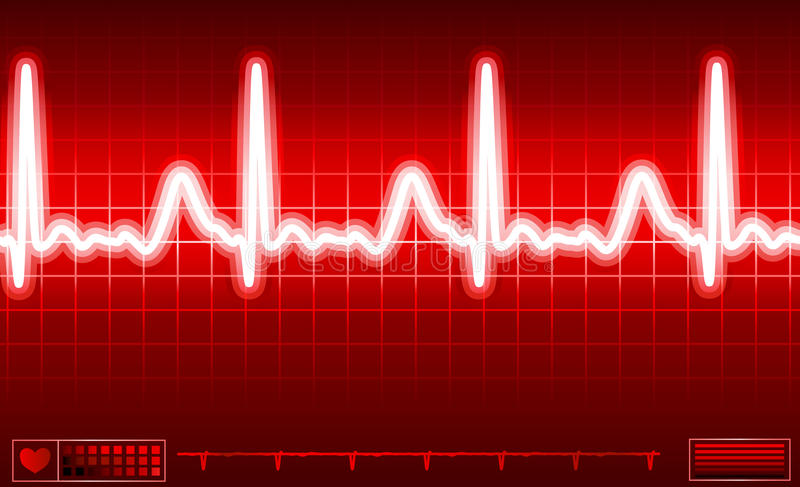 Heart monitor screen. With normal beat signal vector illustration