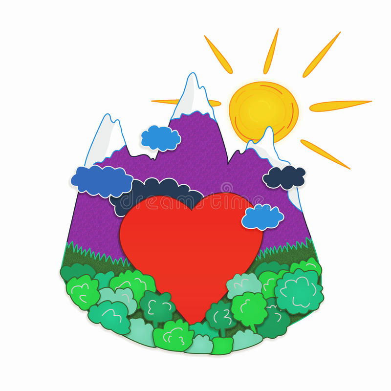 Heart in nature. Red heart in violet mountains with snow tops, storm clouds opposite to mountains, the sun behind mountains vector illustration
