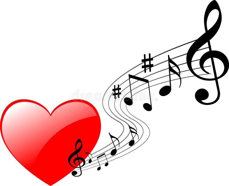 Heart music. Vector illustration of music heart