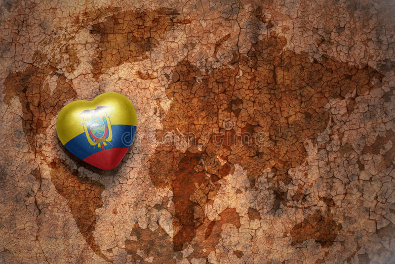 Heart with national flag of ecuador on a vintage world map crack paper background. Concept vector illustration