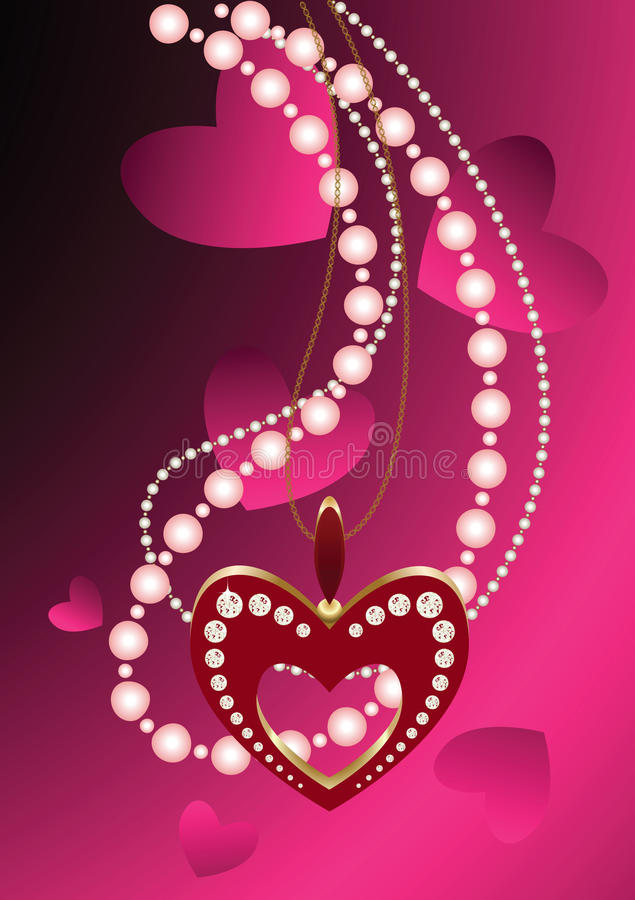 Heart necklace and beads stock illustration