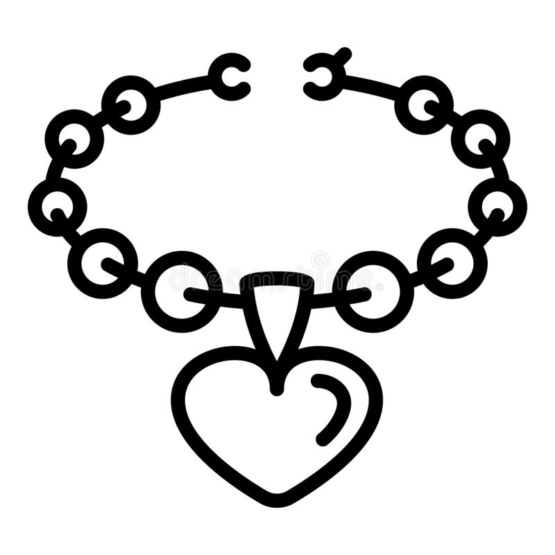 Heart on necklace icon, outline style stock illustration