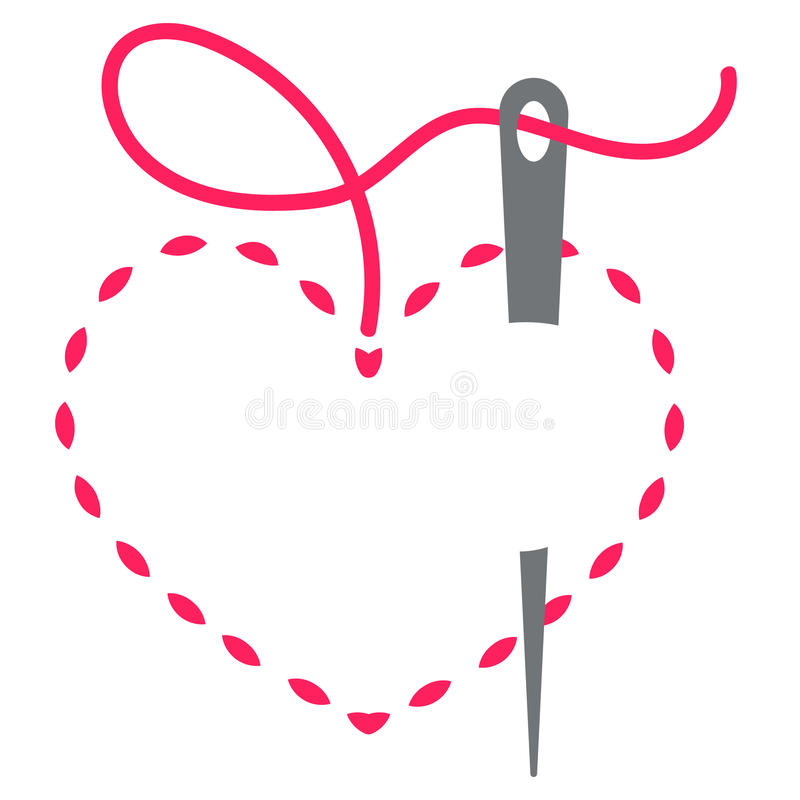 Heart and needle. Heart with a needle thread. vector illustration