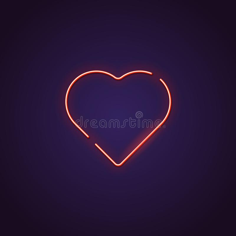 Heart neon sign vector illustration