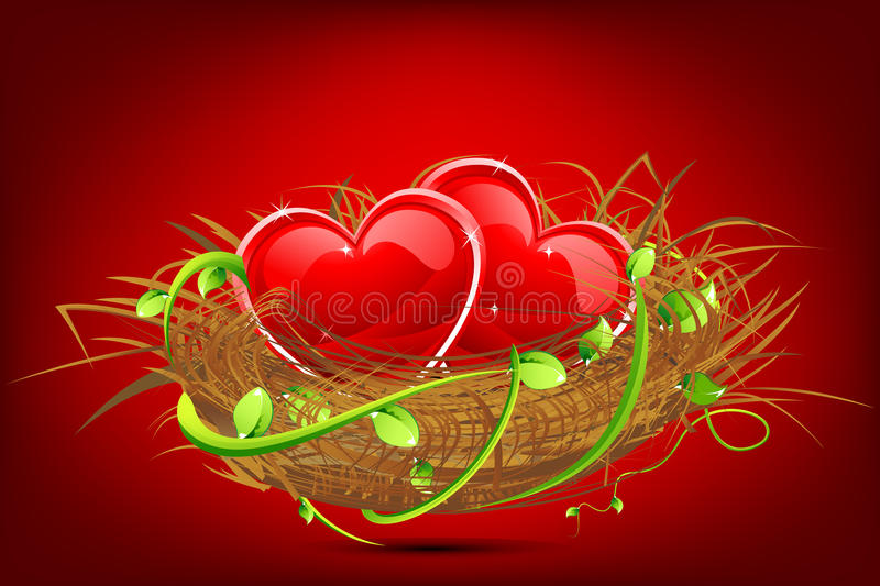 Download Heart in Nest stock illustration. Image of background - 19904622